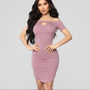 Off Shoulder mini dress with Key Hole Front